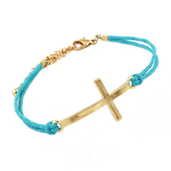 Sideways Cross Bracelet Gold Gold Plated Sideways Cross