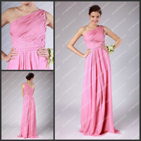 Model Pictures Floor-Length Chiffon 2013 Hot Pink One Shoulder Greek Goddess Sheath Gowns Long Chiffon Bridal Party Reception Dresses