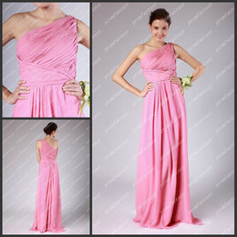 Wholesale 2013 Hot Pink One Shoulder Greek Goddess Sheath Gowns Long Chiffon Bridal Party Reception Dresses