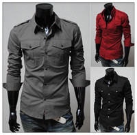 Wholesale 3 Colour Fashion Men s Solid Casual Shirts Slim fit Suit Dress Shirt Luxury