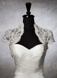 Wholesale Custom Made Beaded Lace Short Sleeves Bolero Jacket Wedding Prom Evening Dresses Accessory Bridal Accessories