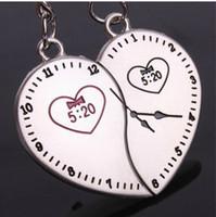 Cheap 20pcs (10pair) NEW Cute clock LOVE Keychain key chain key chain key ring Wedding Keychain