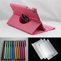 Wholesale by DHL Leather case for ipad mini Stylus pen Screen Protector for ipad mini
