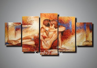 Cheap 100% handmade nude sex wall art canvas 5 panel canvas art high quality com5349