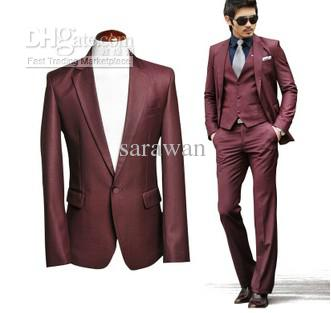 Custom Made To Measure Wine Red Men Wedding Suit,Bespoke Tailored