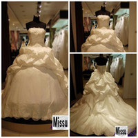 Wholesale Real Sample Strapless Ball gown Chapel Taffeta Applique Bandage Wedding dresses