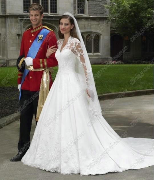 New style kate middleton princess classic long sleeves for Wedding dress kate middleton style