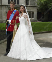 Wholesale New Style Kate Middleton Princess Classic Long Sleeves Cathedral Train Lace Wedding Dresses Bridal Gown Modest WDa082