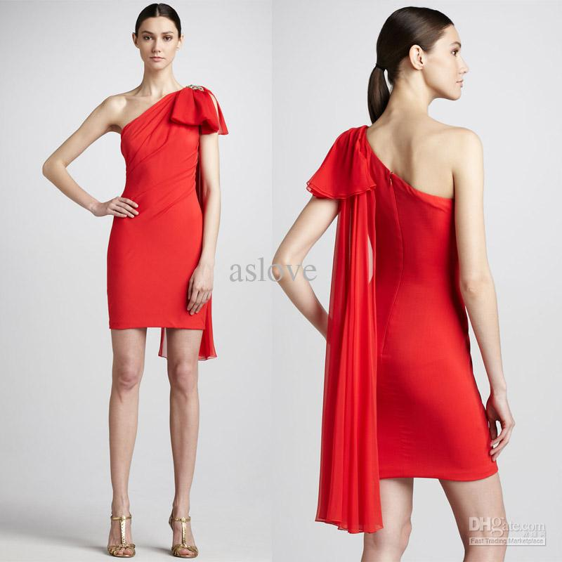 Attractive Bow One Shoulder China Red Chiffon Bridesmaid Dress ...