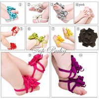 Wholesale baby Barefoot Sandals Foot Flower Ties girls Toddler flower Shoes baby first walker shoes
