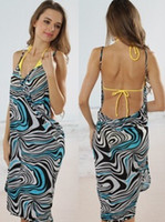 Wholesale Hot fashion swimwear zebra prints bikini cover scarf V neck backless sexy beach dress wrap skirt