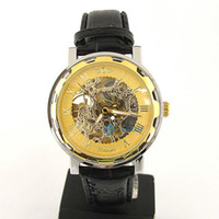 Wholesale Luxury Men Watch Gold Tone Skeleton Dial Auto Leather Quartz Watches support Drop Shipping