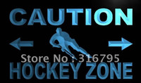 Wholesale m585 b Caution Hockey Zone Neon Light Sign