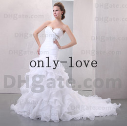 Wholesale Mermaid Wedding Dresses Sweetheart Sequin Beaded Pleats Lace Up Back Layered Ruffles Cathedral Train