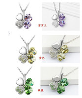 Wholesale silver tone crystal necklace clovers crystal necklace assorted