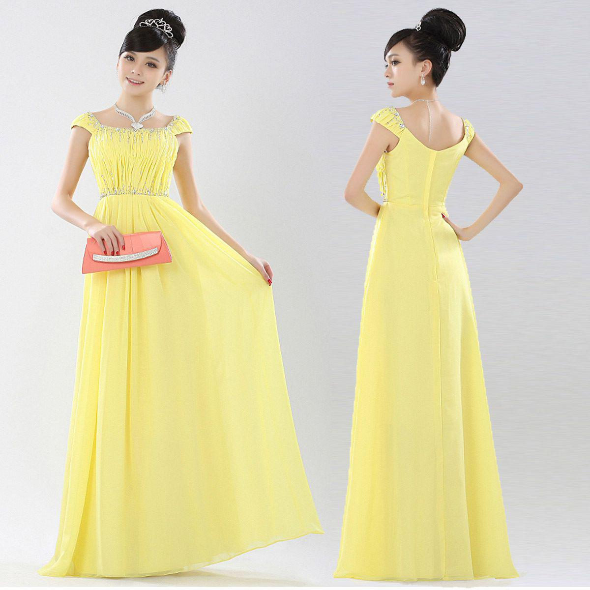 Luxury yellow wedding dress bridal evening dress formal dress 2015 l