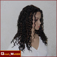 Cheap Celebrity Style Curly 14-24inch #1B 30 Heat Friendly Synthetic Lace Front Wigs Party Wigs DHL Free