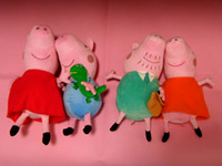 Peppa pig  Multicolor The Valentines Day hard wash peppa pig & george pig plush Mom & Daddy large size cute kids toddler toys pink