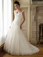 Wholesale Lace And Tulle A line Bridal Gown Features Hand beaded Trimmed Illusion Cap Sleeves Wedding Dresse
