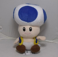 super mario colourful Unisex Free shipping Super Mario 7' blue Mushroom Toad Soft Plush Figure doll Toy wholesale 50pcs lot