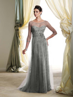Unique 2013 Silver Elbow Sleeves A- Line Ruched Tulle Lace Fl...