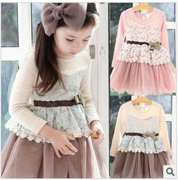 Wholesale Girls long sleeve dresses bowknot dresses veil dresses cotton