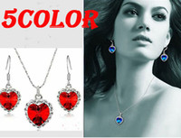 Wholesale Fashion jewely set Heart Ocean Titanic Crystal women Necklaces amp earrings Pendants Ladies Favorite