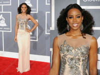 Grammy Awards kelly rowland dress - Kelly Rowland New Arrival Embroidery Applques Sexy Chiffon Celebrity Dress CBDa010