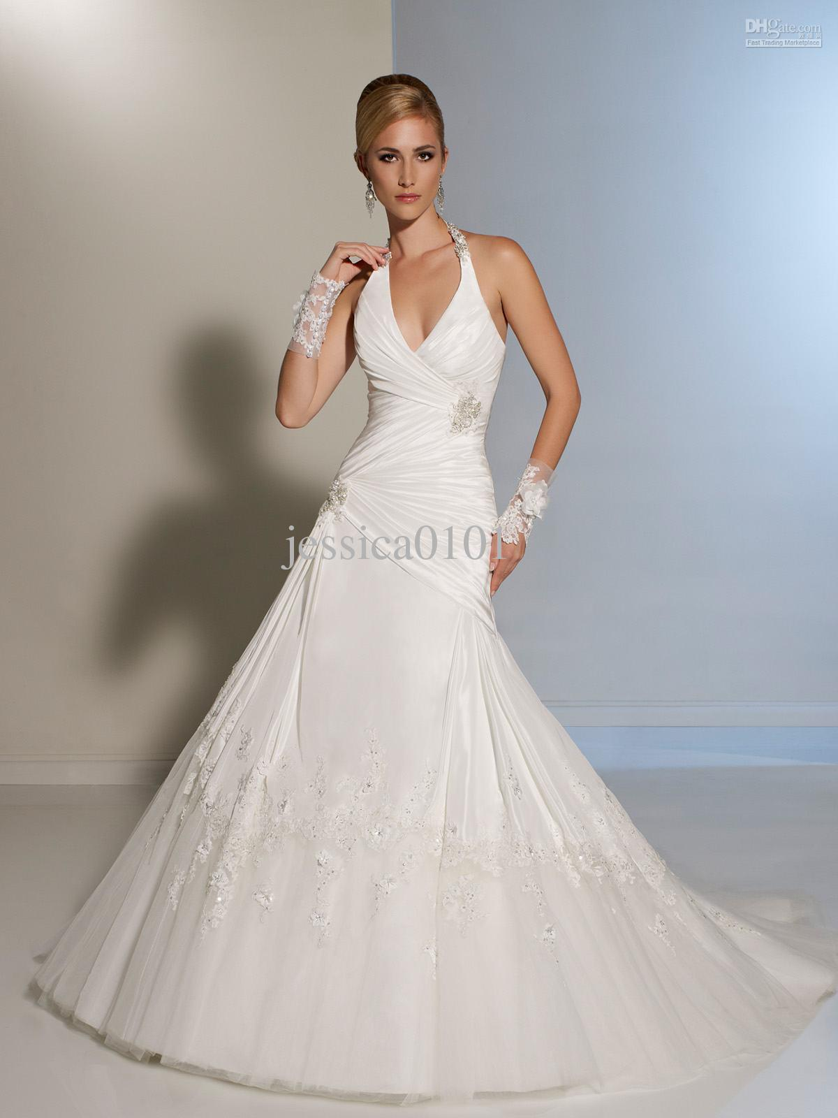 2014 simple cheap satin simple a line wedding dresses for Aline halter wedding dresses