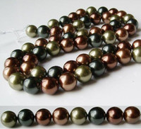 Wholesale AA mm Brown color Round Shaper inch Mother Of Pearl Loose Bead Strand Shell Jewelr