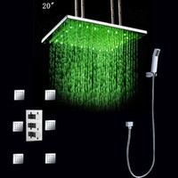 Wholesale 20 inches rainfall showerheads with jets concealed shower brass chrome led shower set