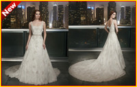 Wholesale 2014 Magnificent Square Applique Lace Beaded A line Cathedral Lace Backless Wedding Bridal Dresses Dress Gowns