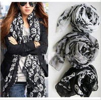 Wholesale Fashion Lady Skull Scarf Woman scarves Autumn Winter Scarf Shawl Elegant Silk Shawl Scarves CN
