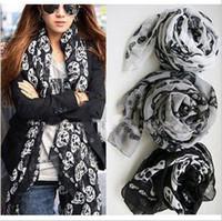Wholesale Fashion Lady Skull Scarf Woman scarves Autumn Winter Scarf Shawl Elegant Silk Shawl Scarves CN
