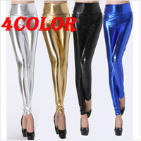 Wholesale Fashion color pu coating Leather Tregging Ladies Leggings Shiny Pants Tights