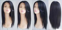 18 pouces perruque synthétique droite en Ligne-Perruque Synthétique Lace avant 18 INCH # 1B cheveux raides noir de haute qualité pour femmes
