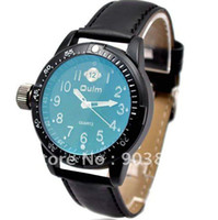 Wholesale Japan movt quartz miltary watch black leather band with blue glass for men boy student best gift fre
