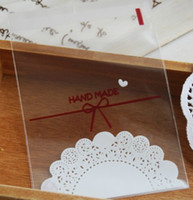 bag hand make - Self adhesive seal bag cello bags quot hand made quot white lace candy bread cake packing bags x15cm
