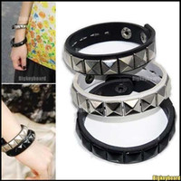 Wholesale 3xNewestFashion Rock Punk Cuff Pyramid Stud Leather Bracelet Wristband