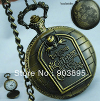 Antique Men's Quartz Vingtage Bronze brass Tone Halloween Tim Burton's The Nightmare Before Christmas Fob Pocket Watch ch