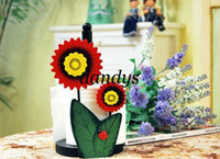 Disposable Paper Holders Zhejiang China (Mainland) wholesale 2pcs lot sunflower Tissue roll Paper Holder napkin car creative funny pumping tube Plastic