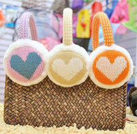 Wholesale new winter day han fashion warm lady earmuffs lovers love heart peach wool imitation