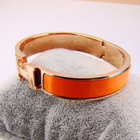 Wholesale Top quality hot Bangle rose gold bracelet H enamel orange bracelet H buckle bracelet