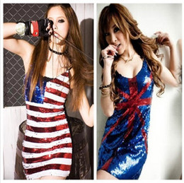 Wholesale Sexy Hot Womens Halter USA British Flag Sequin Cocktail Party Mini Dress