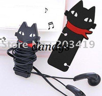 Wholesale Cute black cat wrap cable wire tidy earphone winder Organizer holder for headphone MP3 MP