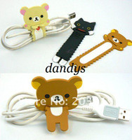 Wholesale Cute bear cat sawtooth design wrap cable wire tidy earphone winder Organizer holder fo