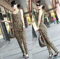 Polyester Regular Print 2013 Sexy Women's Vest Jumpsuits Club Wear Lady Sleeveless Silk Cotton Harem Pants Leopard Rompers Jumpsuits