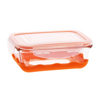Wholesale heat Lock glass lunch boxes microwave lunch box crisper non slip sealed trumpet