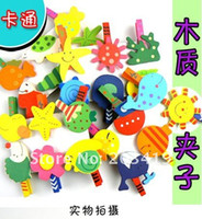 Wholesale Wood Note Clips Educational Toy cartoon Paper Photo Note Clip Bookmark folde