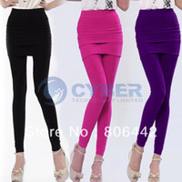 Leggings Fashion 8069# Women Ladies Hot Sexy Nylon Full Skirt Footless Tight Stretch Seamless Long Pants Legging Tights Fre
